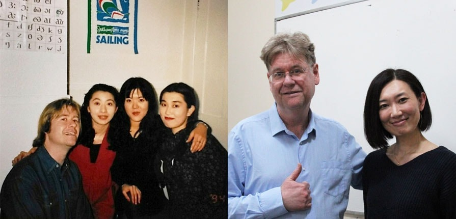 Andrew and Miki at Lewis School in 1994 and 2019