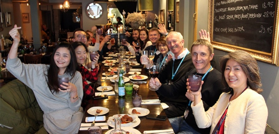 Meal with agents on English UK South Fam Trip
