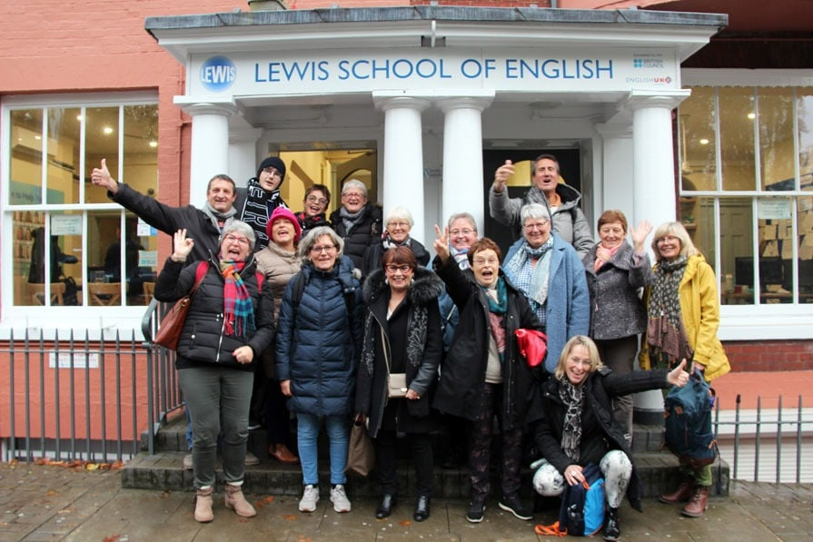 Group of Students from France outside Lewis School of English